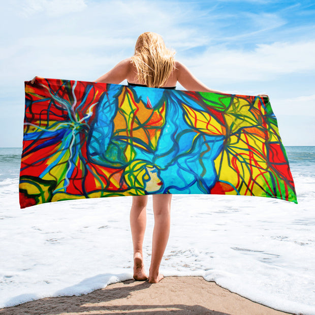 ArtzOnMe Blue Stained Glass Beach Towel