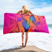 ArtzOnMe Happy Pink Beach Towel