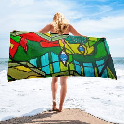 ArtzOnMe Green Original Beach Towel