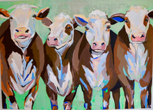 "Load image into Gallery viewer, ""Cows on the loose"" 140x100 cm"