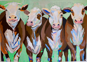 """Cows on the loose"" 140x100 cm"