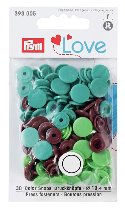 Boutons pression Prym Love 12mm, Vert, marron