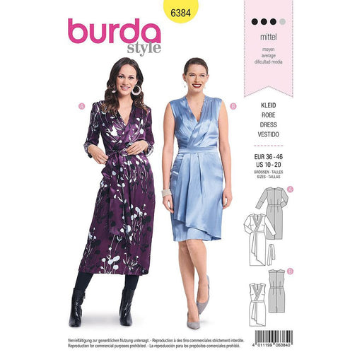 Patron robe cocktail, robe portefeuille, Burda 6384