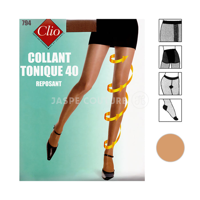 Collant tonique reposant beige doré 40D Clio