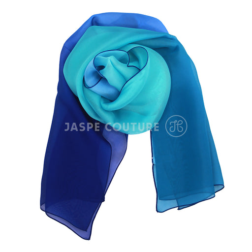 Foulard pure soie 4 tons indigo turquoise Malfroy