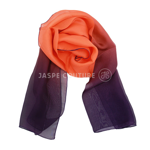 Foulard pure soie 2 tons violine orange Malfroy