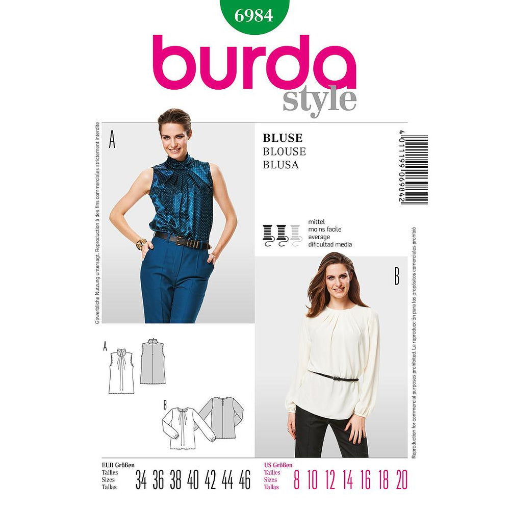 Burda 6984 patron blouse