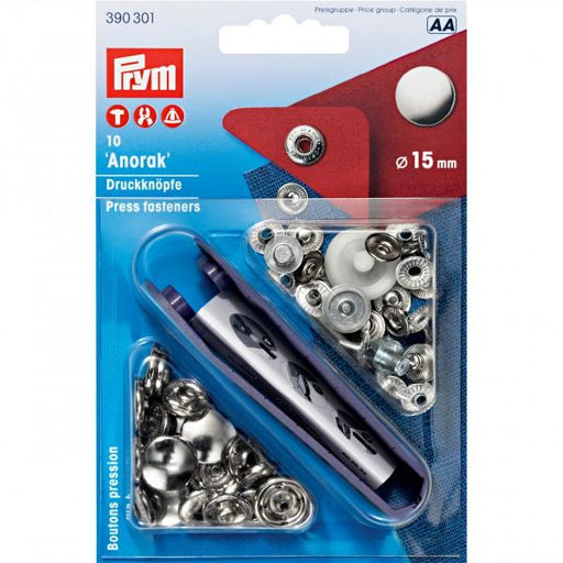 Boutons pression Prym 15mm sans couture, Pression Anorak
