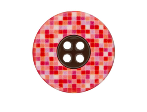 Bouton polyester rouge 25mm