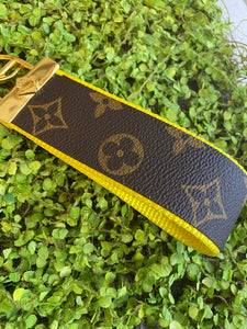 Lemon Yellow repurposed wristlet keychain