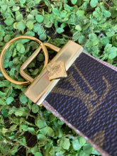 Load image into Gallery viewer, Tan 2 repurposed wristlet keychain
