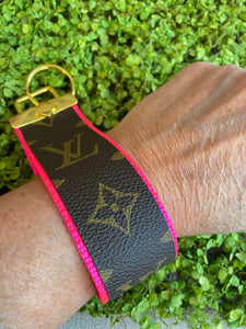 Hot Pink repurposed wristlet keychain