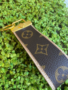 Tan repurposed wristlet keychain