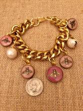 Load image into Gallery viewer, Repurposed Sofia Button Charm Bracelet