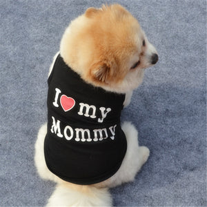 Classic Love Mommy & Love Daddy Print Dog Vest Unisex Puppy Cat T Shirt Sleeveless Clothing Cute Dogs Clothes For Small Doggy