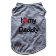 Load image into Gallery viewer, Classic Love Mommy & Love Daddy Print Dog Vest Unisex Puppy Cat T Shirt Sleeveless Clothing Cute Dogs Clothes For Small Doggy