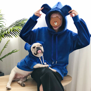 For Us & Them Blue Teddy Bear Hoody