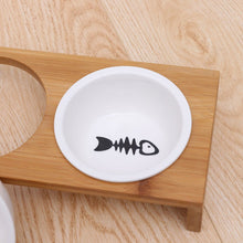 Load image into Gallery viewer, Ceramic Feeding Bowls With Bamboo Frame