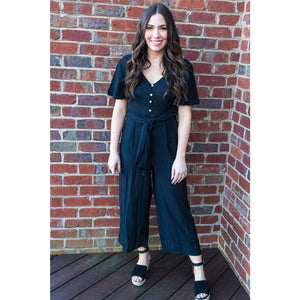 Black Flutter Sleeve Jumpsuit - Bottoms