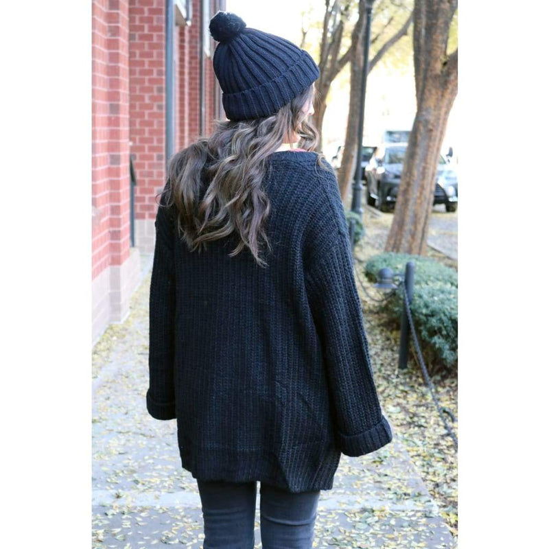 Black Knit Cardigan - Outerwear