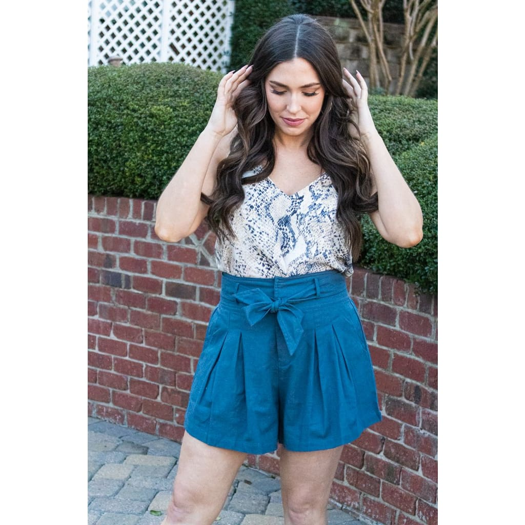 Blue High Waisted Shorts - Bottoms
