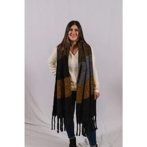 Brown Multi-Colored Scarf - Accessories