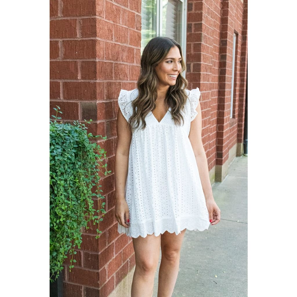 Eyelet Romper- White - Bottoms