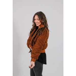 High Collar Teddy Jacket - Outerwear