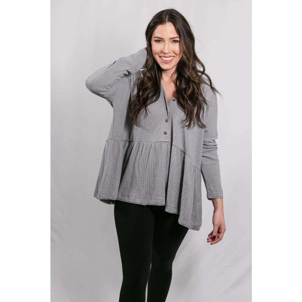 Oversized Waffle Knit Top - Grey - Tops