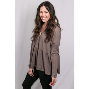 raremay boutique - Oversized Waffle Knit Top - Taupe - Tops