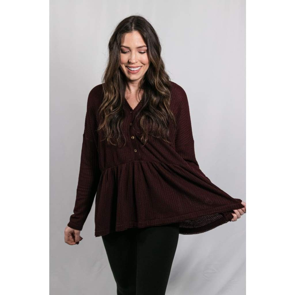 Oversized Waffle Knit Top - Wine - Tops