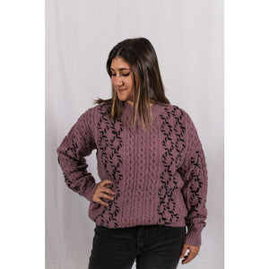 Purple Cable Sweater - Sweaters