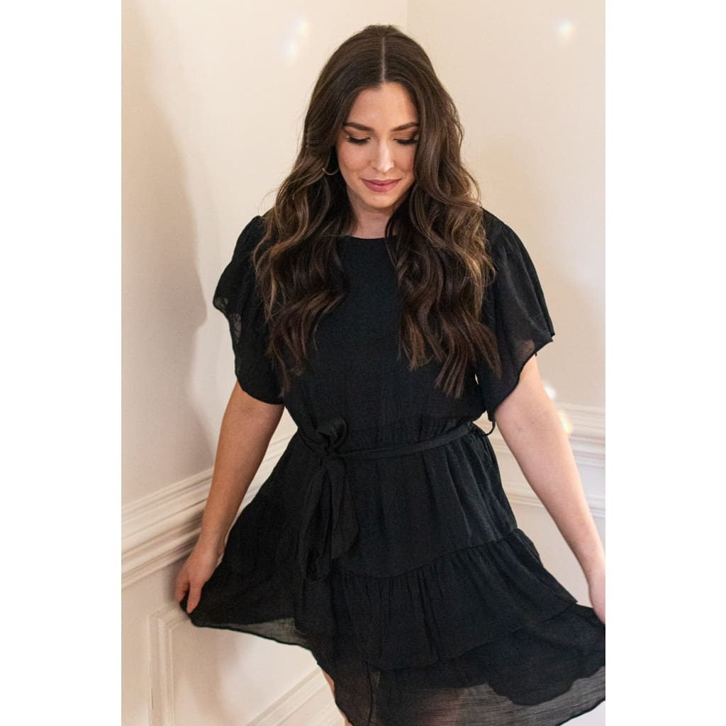Ruffle Dress - Black - Dresses