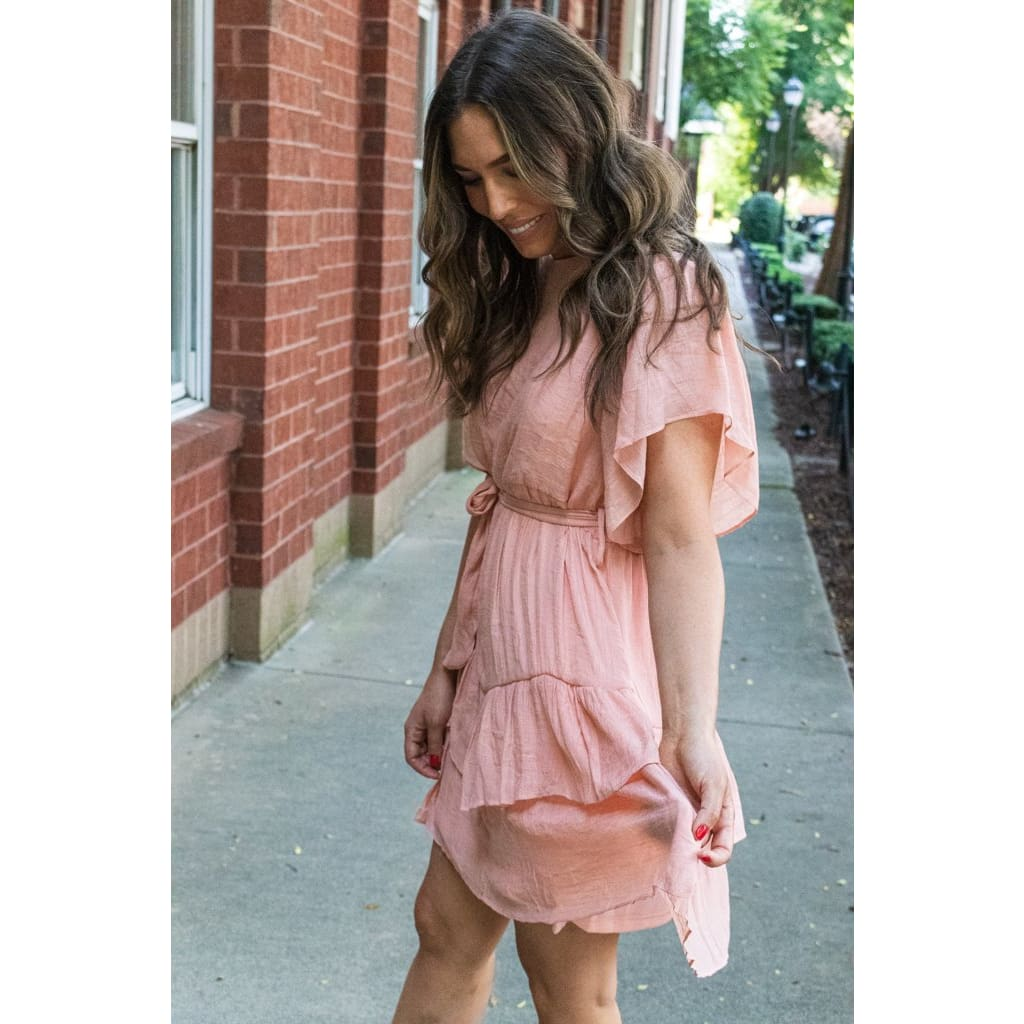 Ruffle Dress- Blush - Dresses