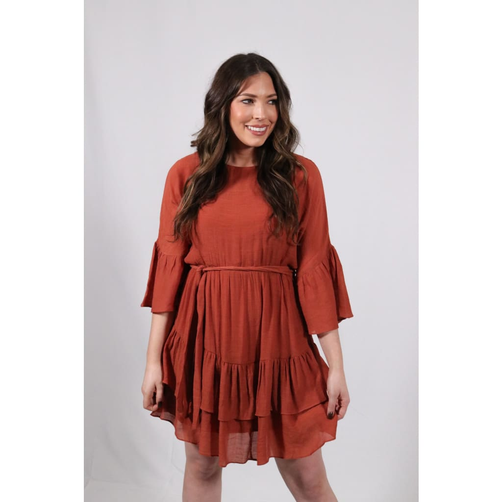 Ruffle Dress - Cinnamon - Dresses