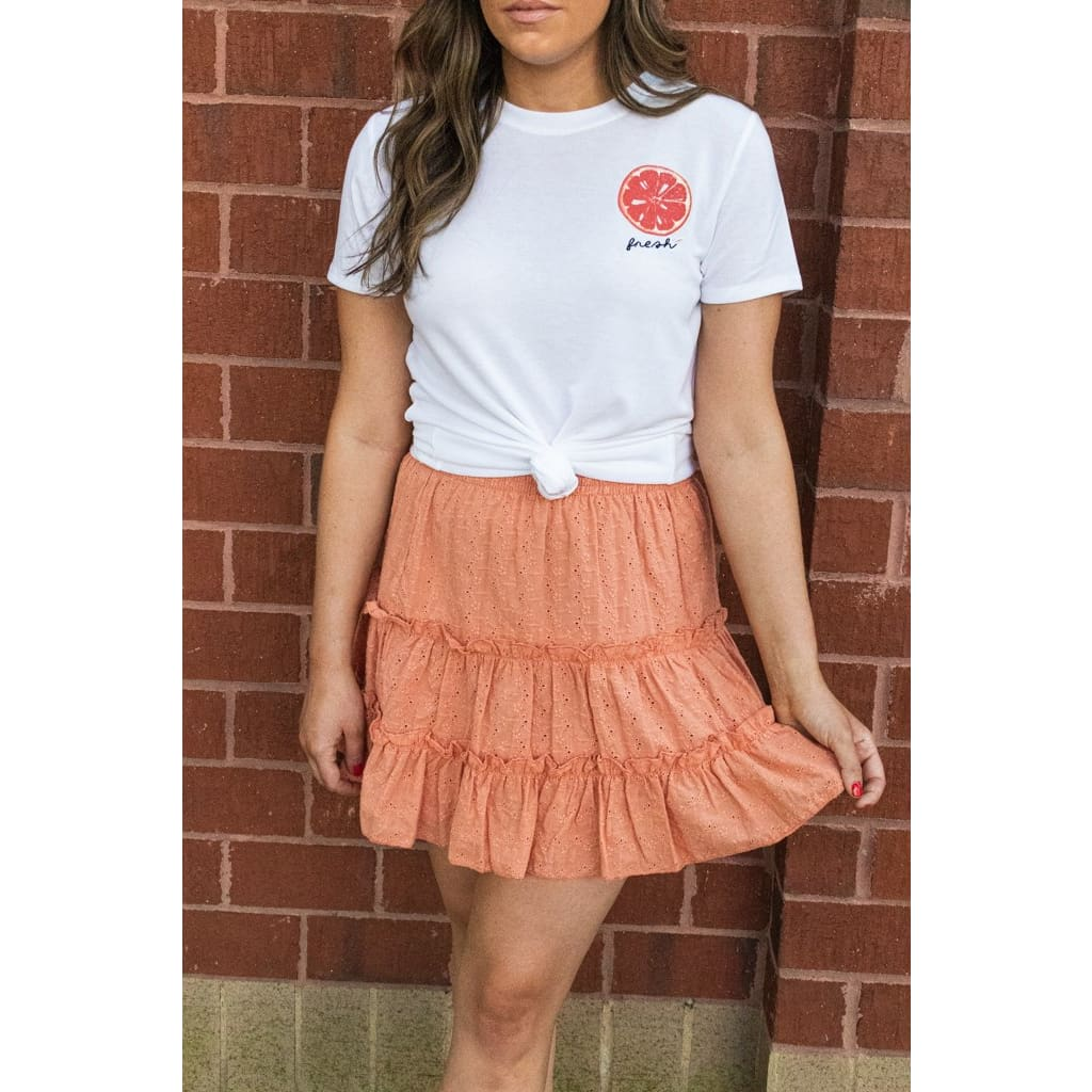 Ruffle Skirt- Tangerine - Bottoms