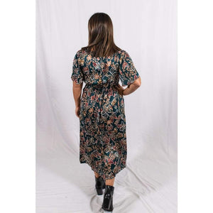 Satin Floral Midi Dress - Dresses