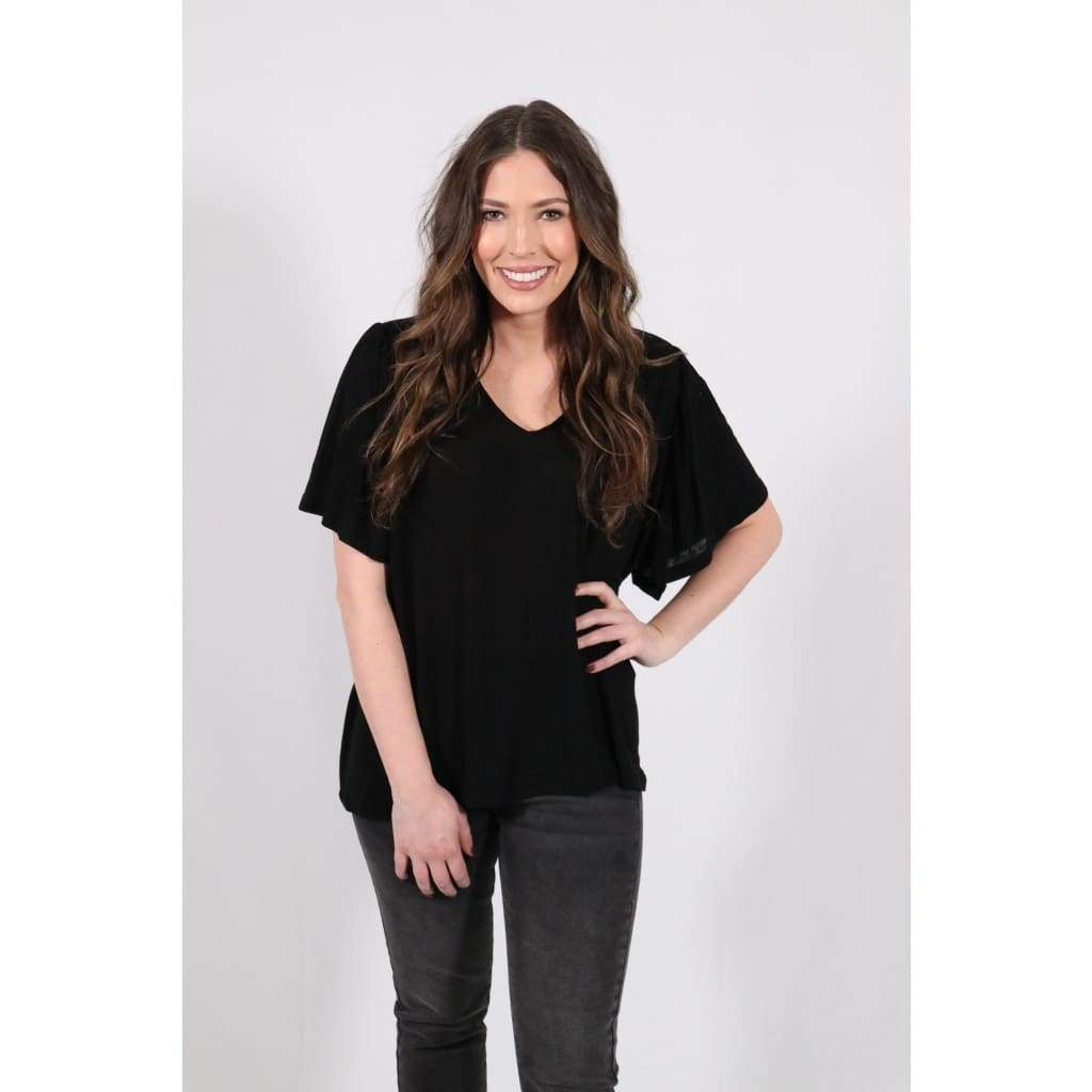 V Basic Tee - Black - Tops