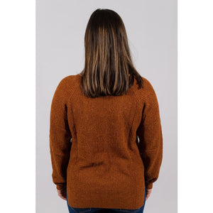 V Neck Hem Sweater - Rust - Sweaters