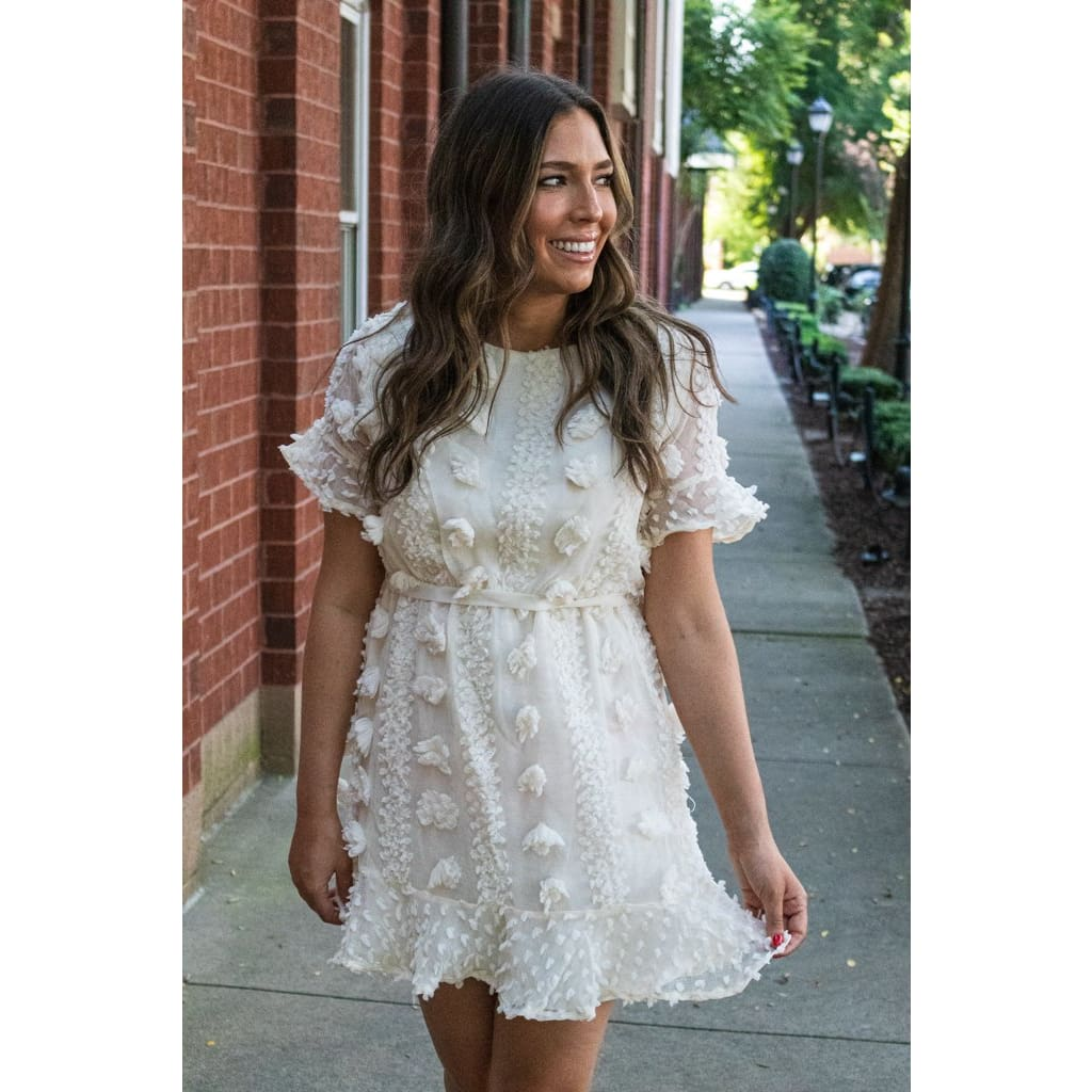 White Floral Dress - Dresses