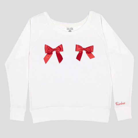 Ladies Ribbons Fearless Sweatshirt White