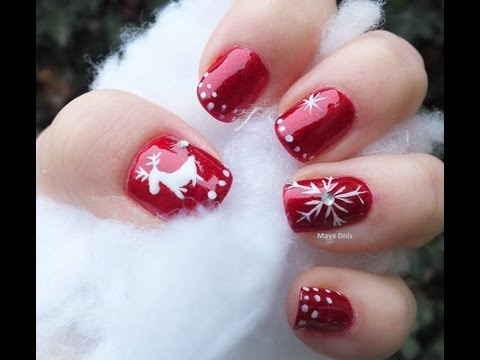 Ongle gel rouge hiver