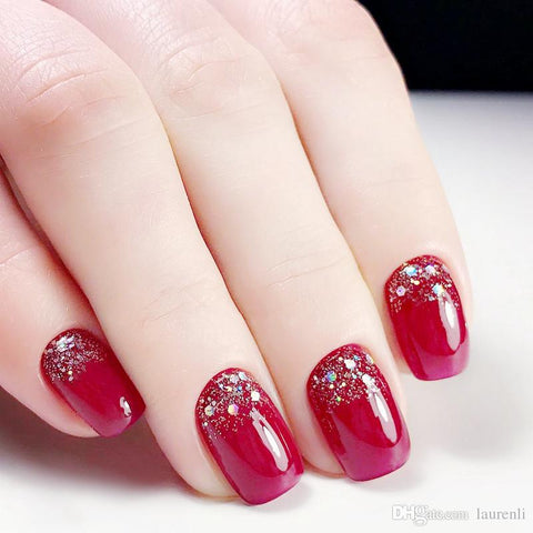 ongles rouge paillettes