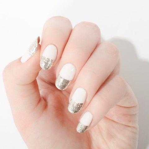 french manucure paillettes ongles
