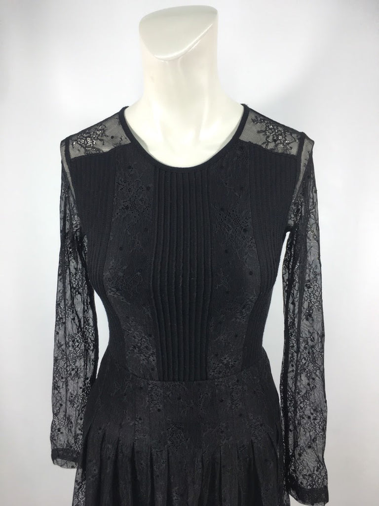 French Connection Women's Black Lace Pleated Sheath Dress Size 2
