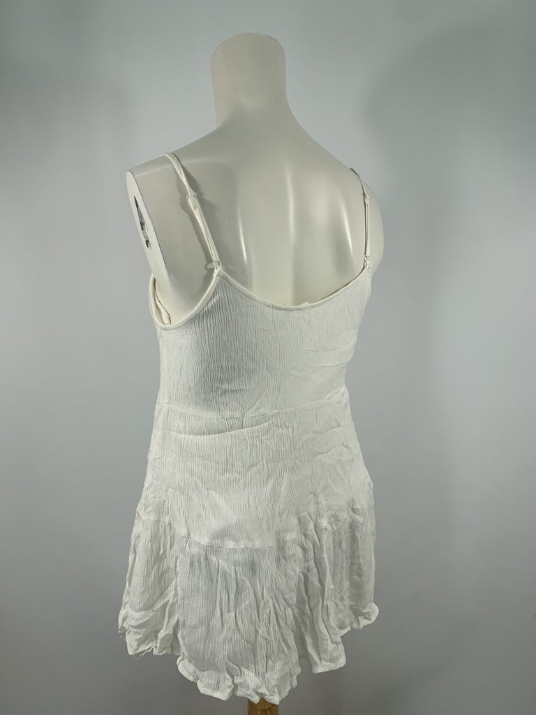 Lush Women's White Tribal Swing Spaghetti Strap Rayon Blouse Top Size S