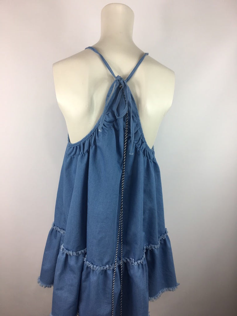 Della Bee Women's Blue Pom Pom Tassle Boho Fringe Hem Shift Dress Size Xs
