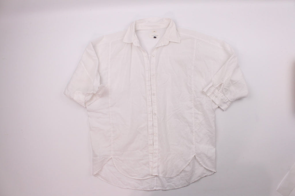 Loft Women's White The Softened Cotton Collar Blouse Top Size M