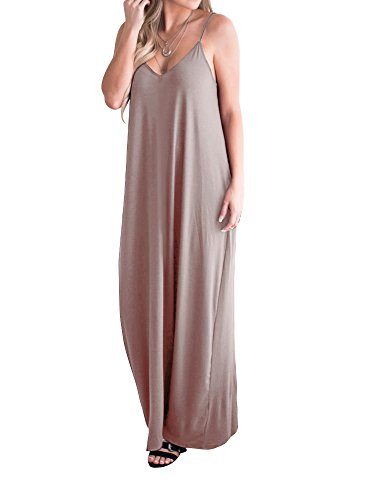Faisean Womens V Neck Backless Spaghetti Strap Loose Beach Maxi Plain Dress with Pockets Khaki, Large