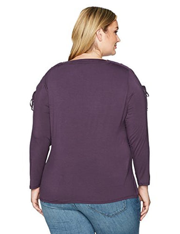 Love Scarlett Women's Plus Size Long Sleeve Mixed Media Knit Top with Grommet, fig, 2X